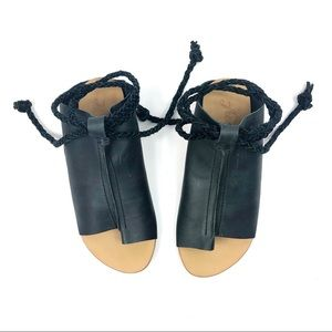 Free People Cherry Valley Sandal Black Leather 7
